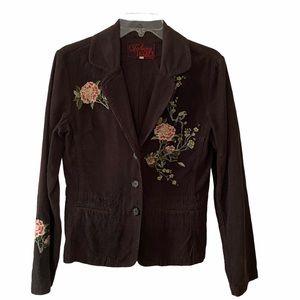 Johnny Was Embroidered Corduroy Blazer S